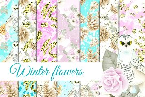 Winter flowers seamless patterns