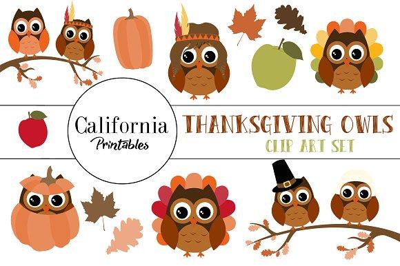 Thanksgiving Owl Clip Art in Illustrations