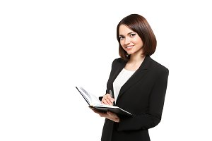 Business woman holding hands in daily, isolated on white background