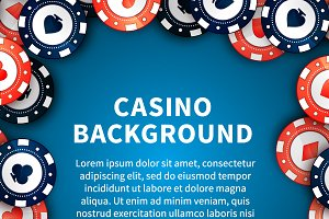 Casino chips on blue table template