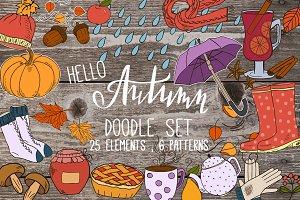 """Hello,Autumn"" vector doodle set"