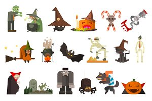 Halloween Attributes, Characters Set