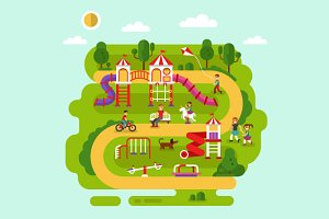 Park with Kids Playground Vector