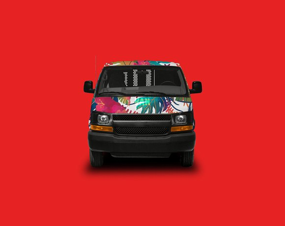 Free Van Mockup With 4 Perspectives