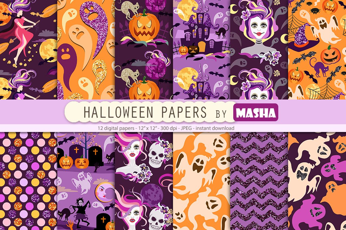 Halloween Digital Papers Custom Designed Graphic Patterns Creative Market