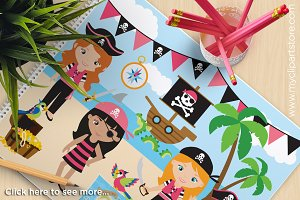 Girl Pirates - Vector Clipart