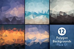 12 Polygon Backgrounds - Pack 01