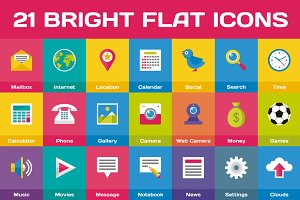 21 Bright Flat Icons