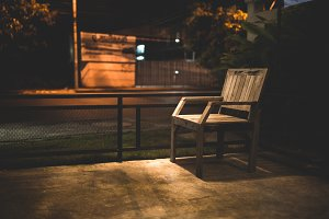 empty chair with street light