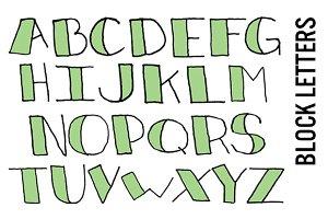 Doodle Block Letters - Mint