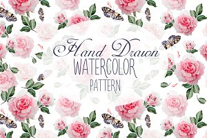 8 HandDrawn Watercolor PATTERNS