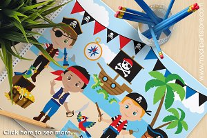 Boy Pirates - Vector Clipart
