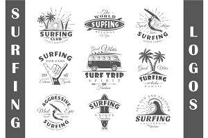 9 Surfing Logos Templates Vol.1
