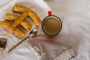 Churros with latte