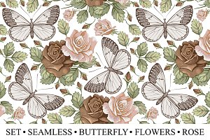 Set Seamless Butterfly Flowers Rose
