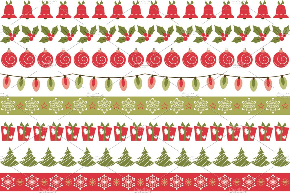 Christmas Borders Graphic Patterns Creative Market Beauteous Christmas Patterns