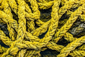 Old yellow boat rope
