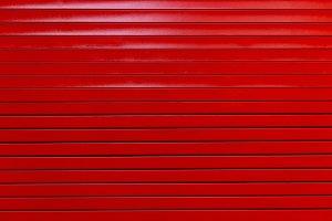 Red painted metal garage door