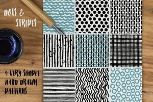 Dots & Stripes - 9 seamless patterns