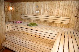 Bath house wooden room