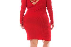plus size model woman red dress