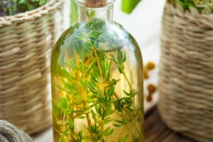 Thyme essential oil or infusion