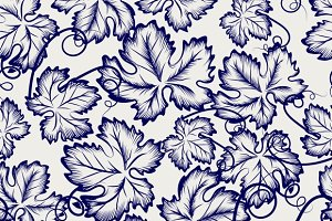 Grape leaves seamless pattern