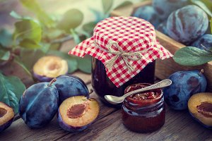 Homemade plum jam and fruits