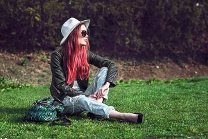 Beautiful stylish red haired girl