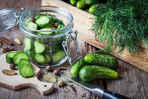 Cucumbers for pickling with dill