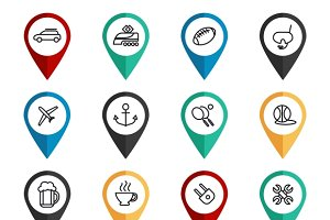 Navigation signs with travel icons