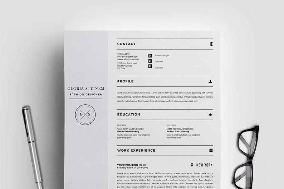 Resume Format For Fashion Designer from images.creativemarket.com