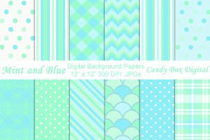 Mint and Blue Digital Papers