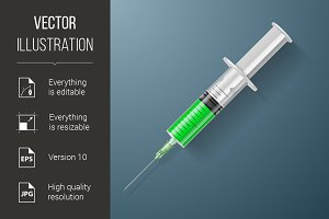 Syringe with green liquid