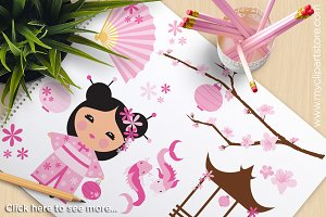 Kokeshi, Lotus Flower Clipart