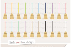 Straw Broom Clipart