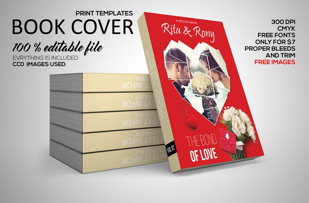 Wedding Book Cover Template : Wedding book cover print template stationery templates