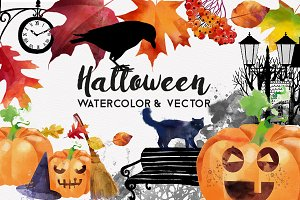 Halloween watercolor and vector