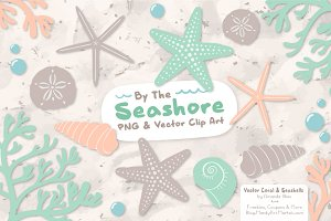 Mint & Peach Vector Seashells