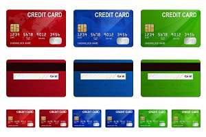 Credit cards. Vector set.