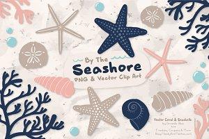 Seashells Clipart in Navy & Blush