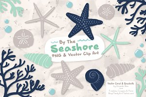 Seashells Clipart in Navy & Mint