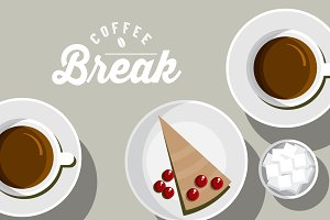 coffee and slice of cake vector