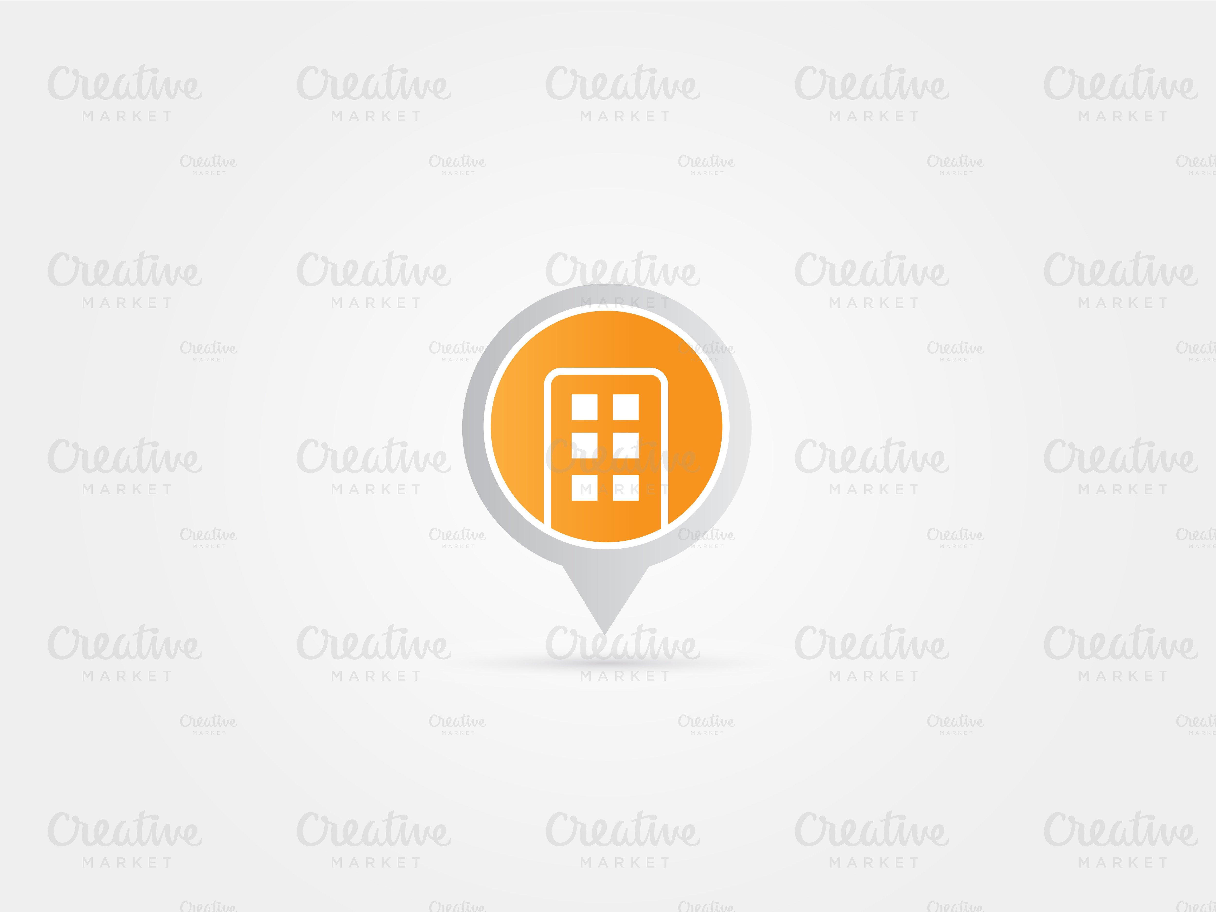 Minimal Building Pointer Map logo ~ Logo Templates