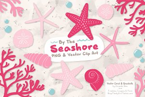 Seashells Clipart in Pink