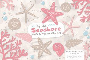 Seashells Clipart in Soft Pink