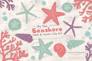 Seashells Clipart in Vintage Girl