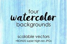 Four Blue Watercolor Backgrounds