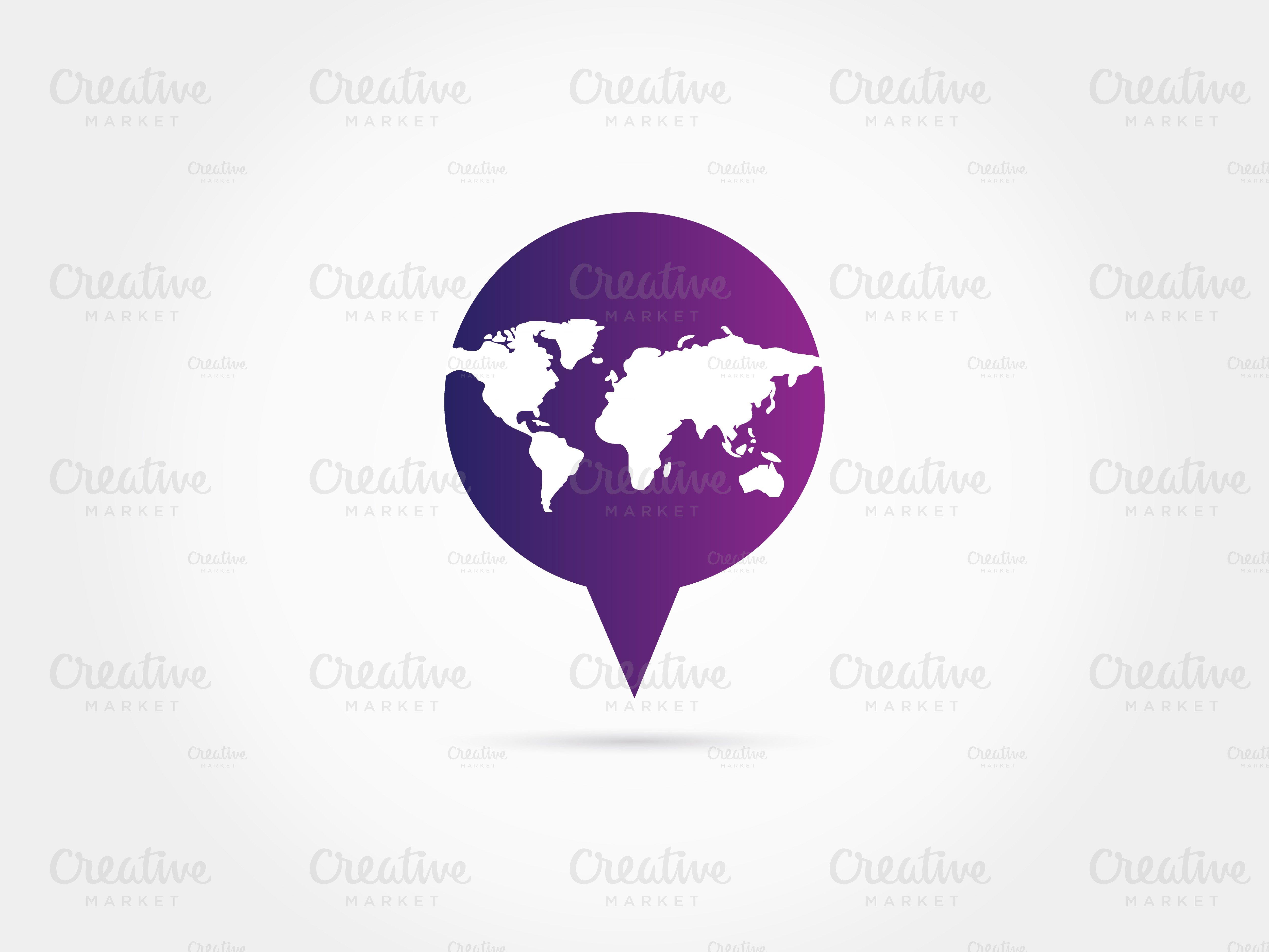 world map in pointer logo  logo templates  creative market -