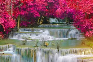 colorful of Waterfall in Deep forest